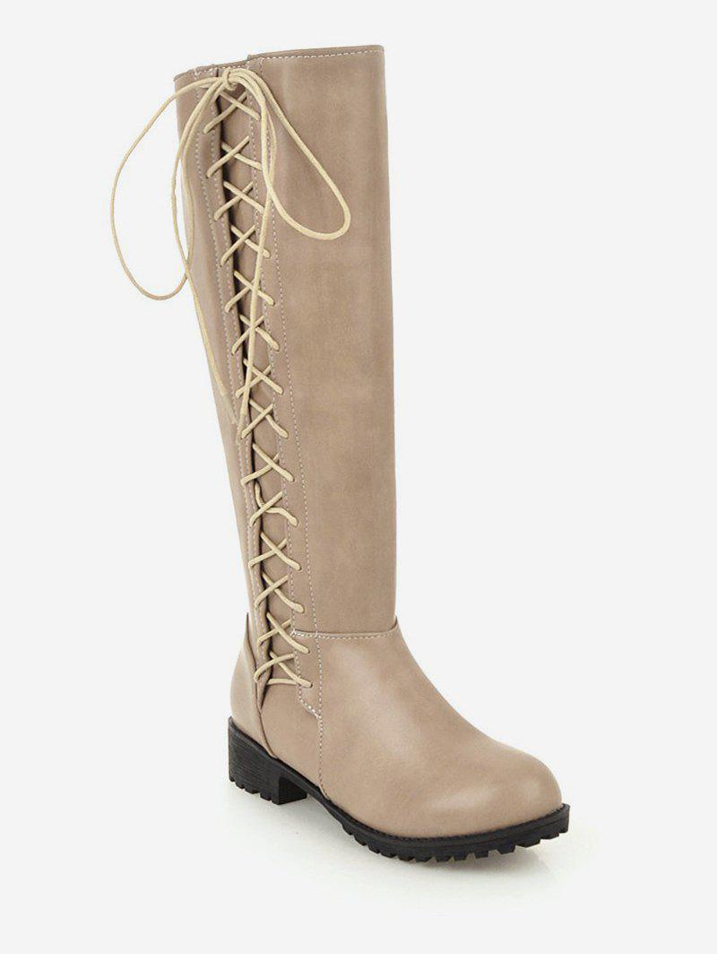 Latest Plus Size Side Lace Up Knee High Boots