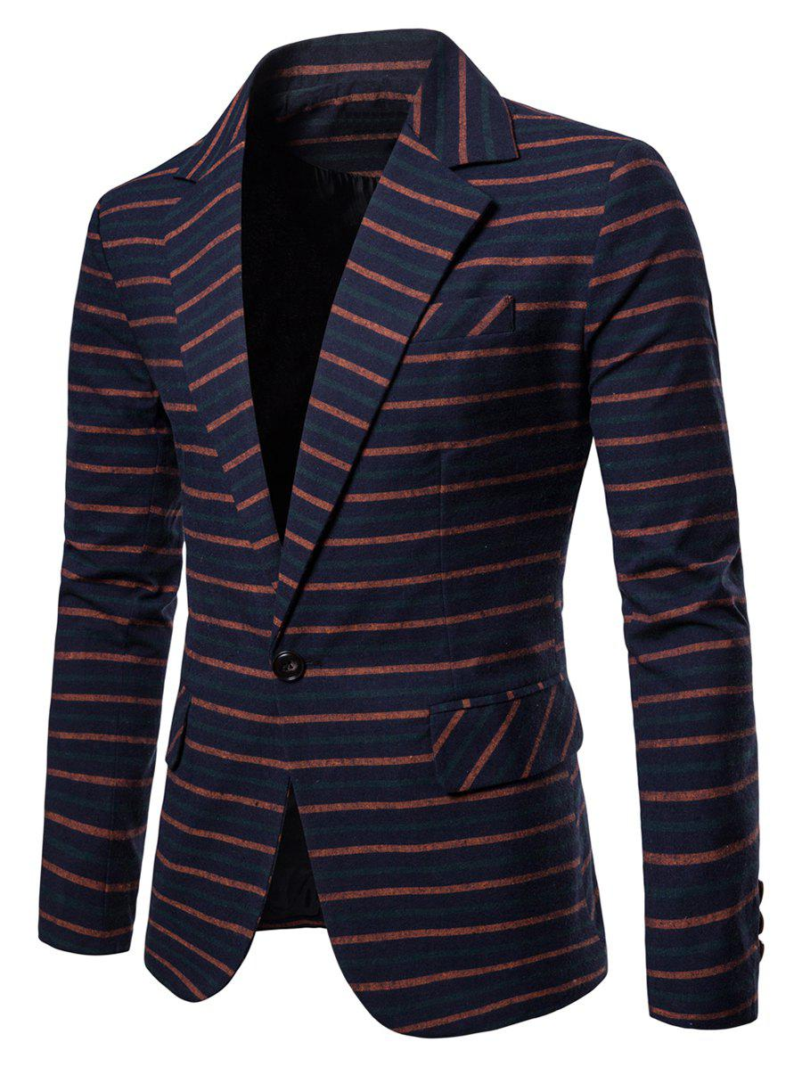 Outfits One Button Lapel Collar Striped Blazer