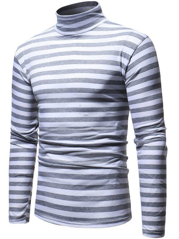 Fashion Striped High Neck Long Sleeve T-shirt