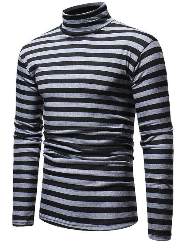 Unique Striped High Neck Long Sleeve T-shirt