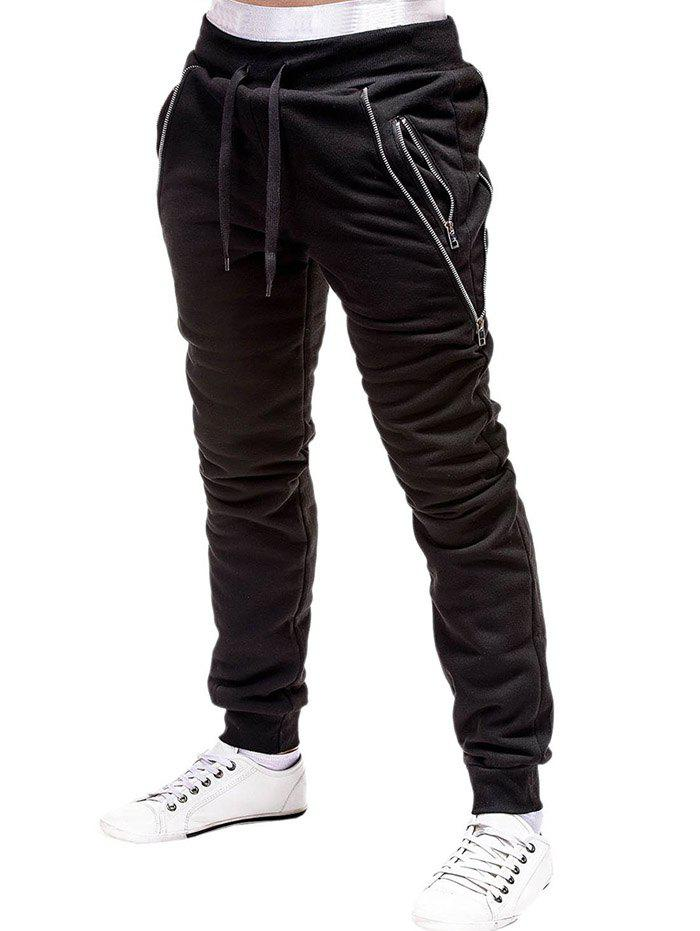 Buy Zip Embellished Casual Sport Jogger Pants