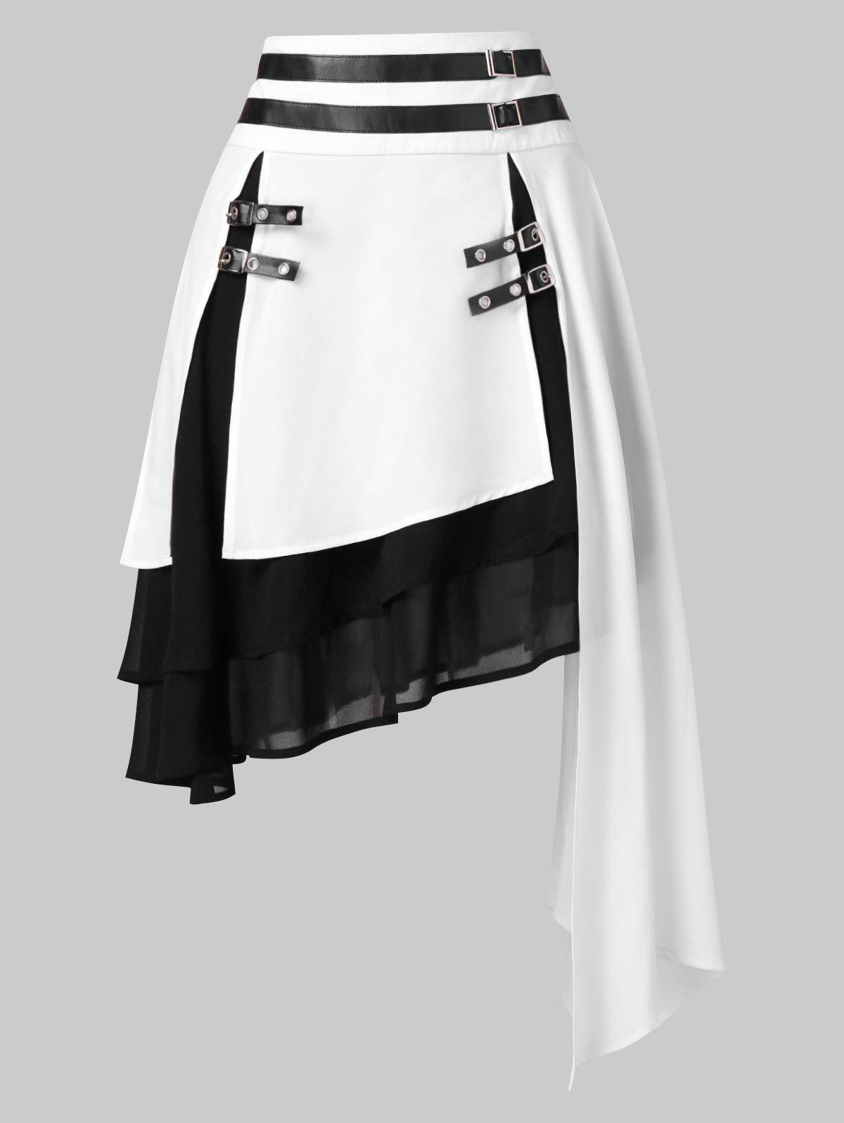 Color Block Layered Asymmetrical Skirt, Milk white
