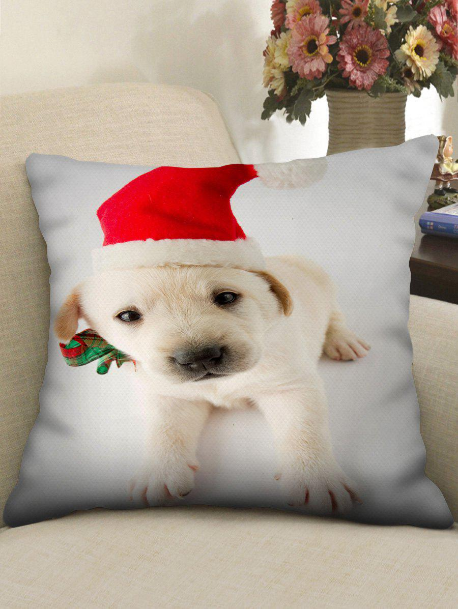 Discount Christmas Puppy Printed Linen Pillowcase