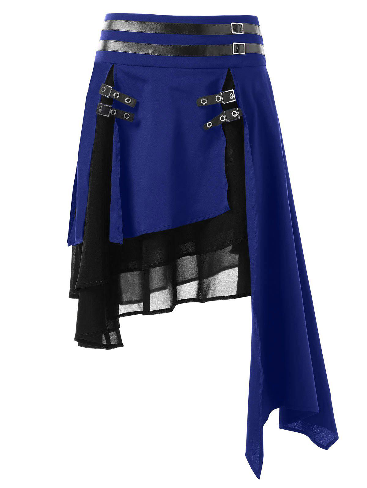 Affordable Color Block Layered Asymmetrical Skirt