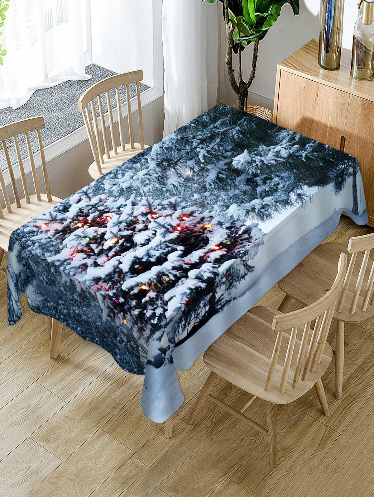 Trendy Christmas Tree Snow Print Fabric Waterproof Table Cloth