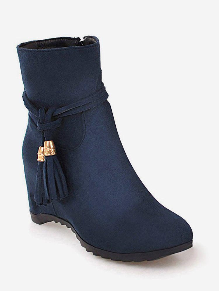 Trendy Plus Size Tassels Increased Internal Ankle Boots