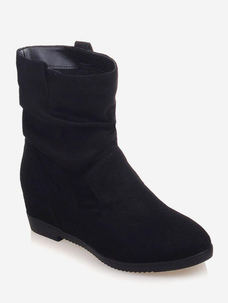 Discount Plus Size Increased Internal Suede Mid Calf Boots
