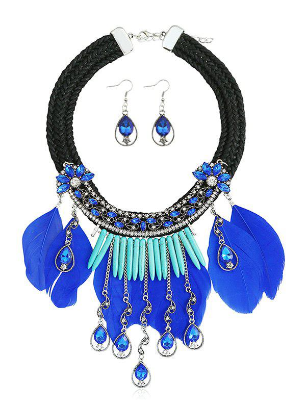 Trendy Artificial Crystal Feathered Flower Decoration Necklace Earrings