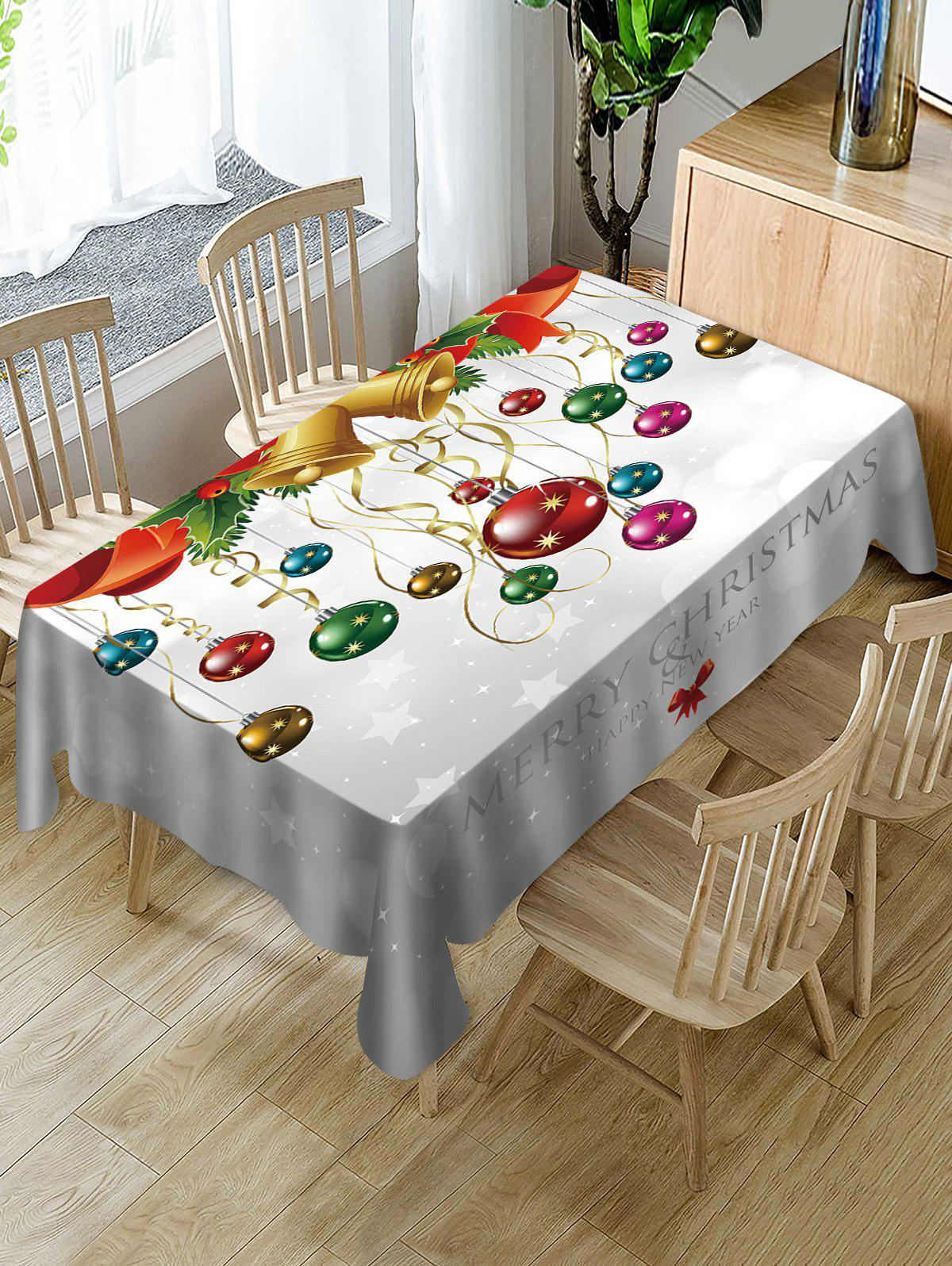 Latest Merry Christmas Bell Ball Print Fabric Waterproof Table Cloth