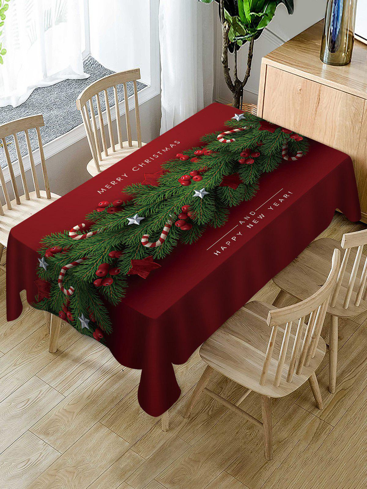 Unique Merry Christmas Candy Cane Fabric Waterproof Table Cloth