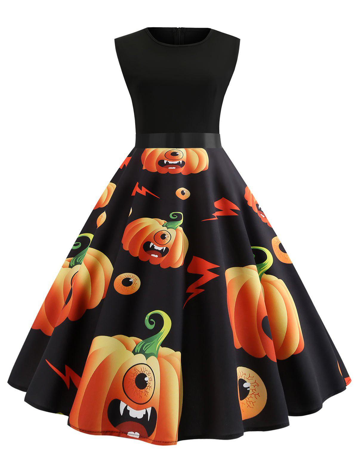 Cheap Halloween Pumpkin Print Sleeveless Vintage Dress