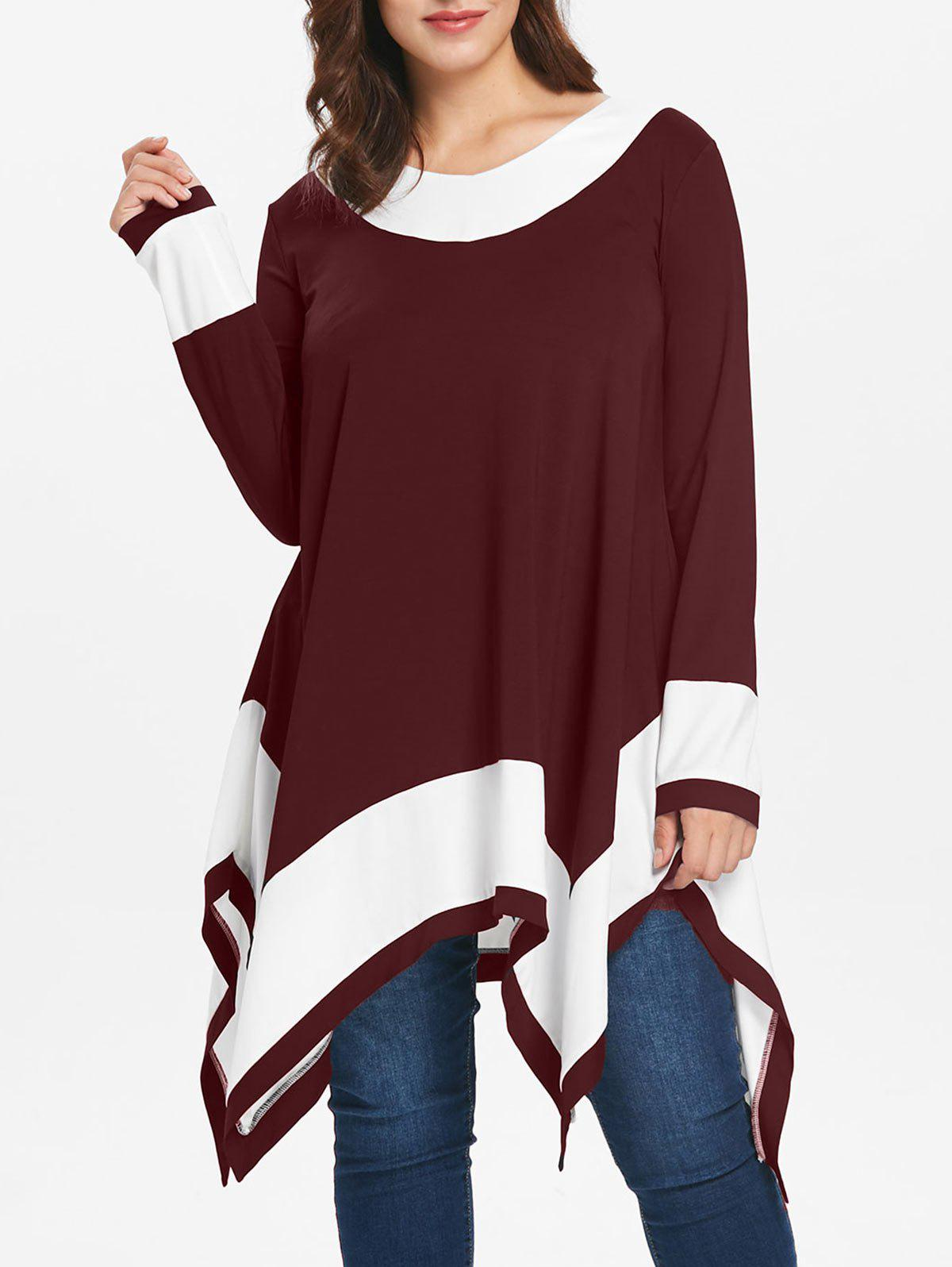 Sale Plus Size Long Sleeve Handkerchief Tunic Top
