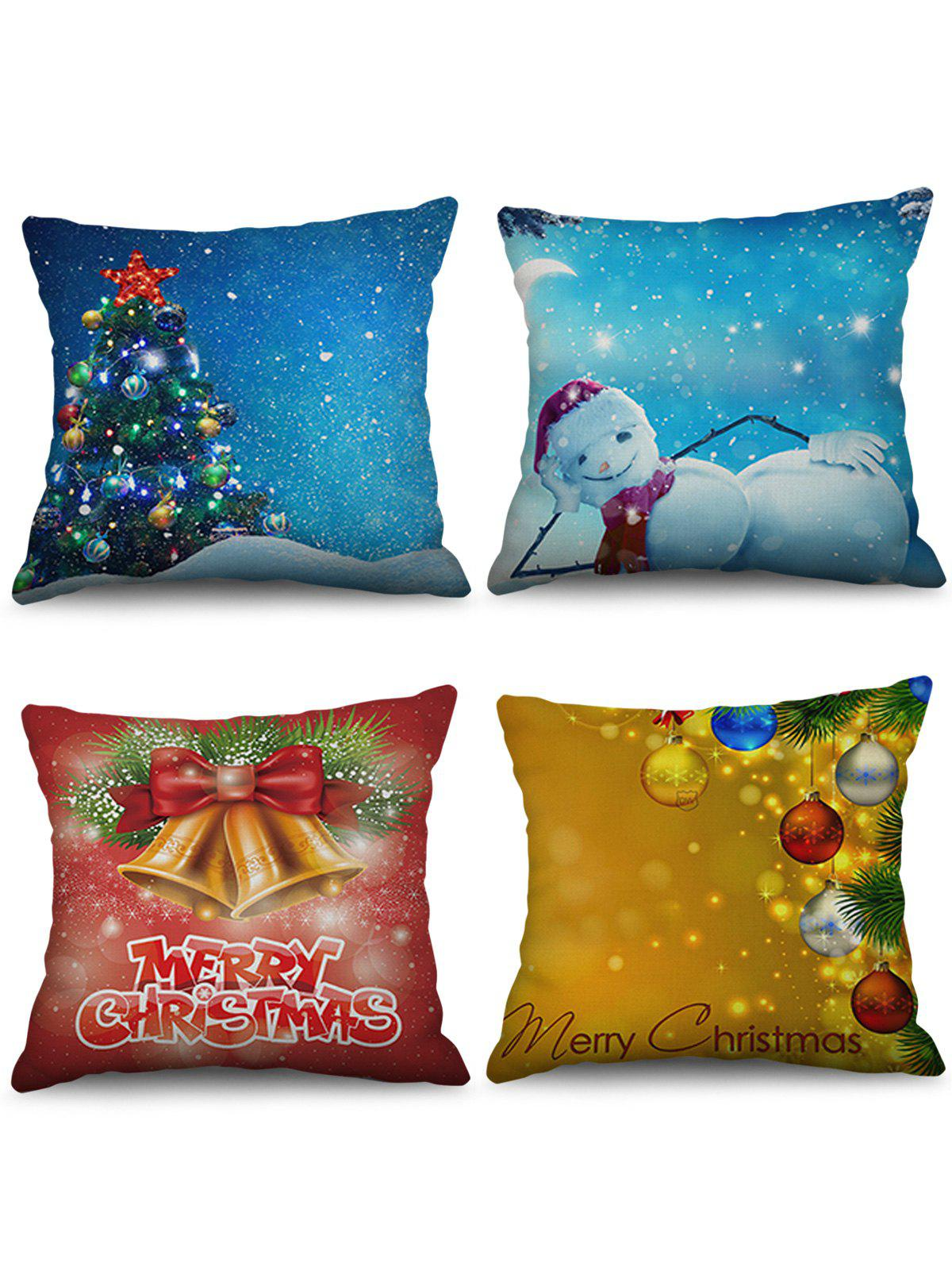 Affordable 4PCS Christmas Tree Bell Snowman Printed Pillowcases