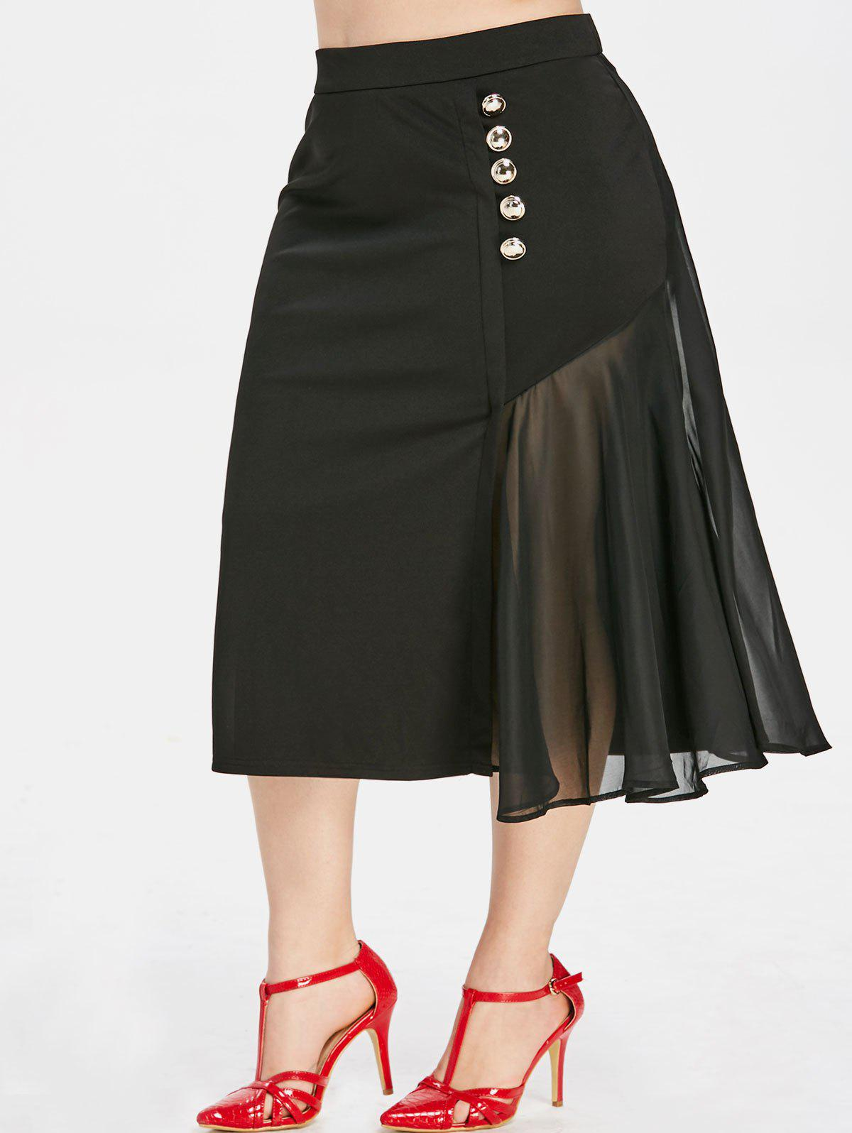 4c1bebed651 2018 Plus Size High Rise Spliced Midi Skirt In Black 4x