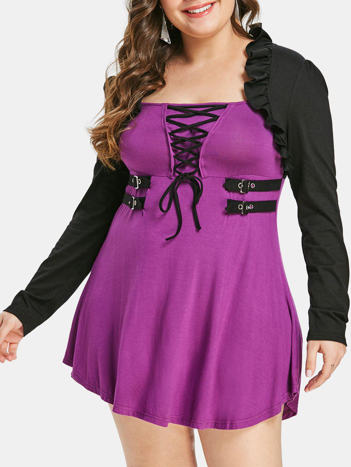 Outfit Plus Size Halloween Lace Up Color Block T-shirt