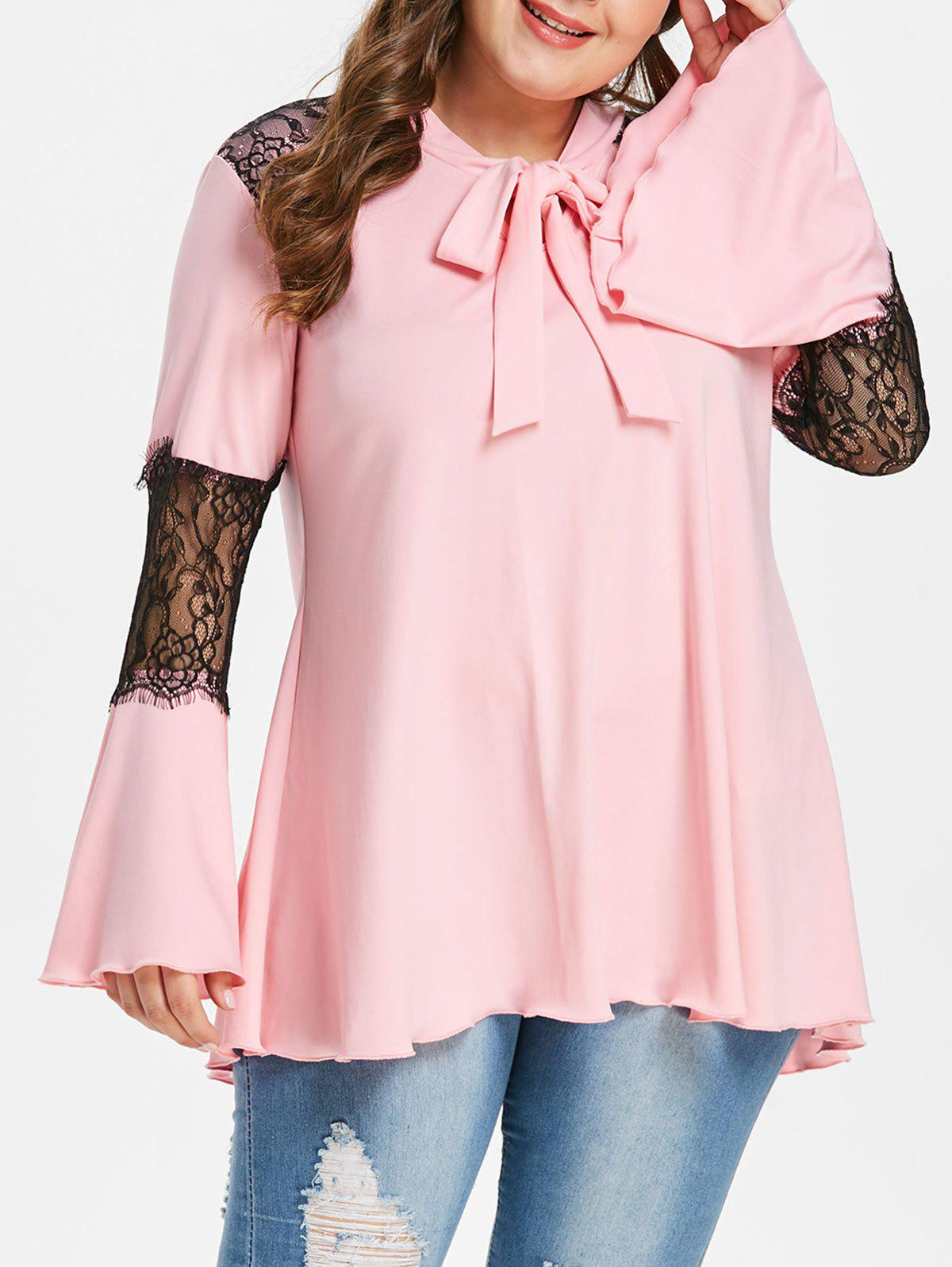 Fancy Lace Panel Plus Size Flare Sleeve T-shirt
