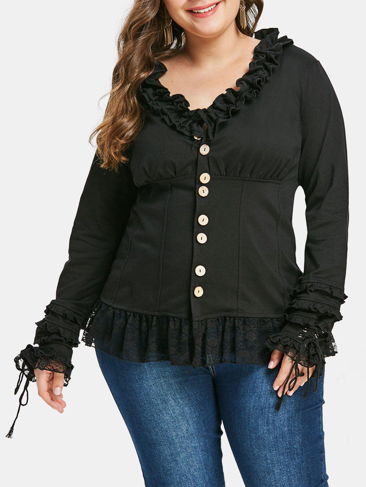 Unique Plus Size Ruffled Buttons Lace Panel Jacket