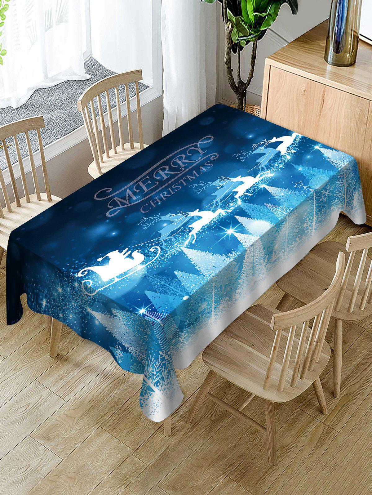 Online Merry Christmas Elk Print Fabric Waterproof Table Cloth