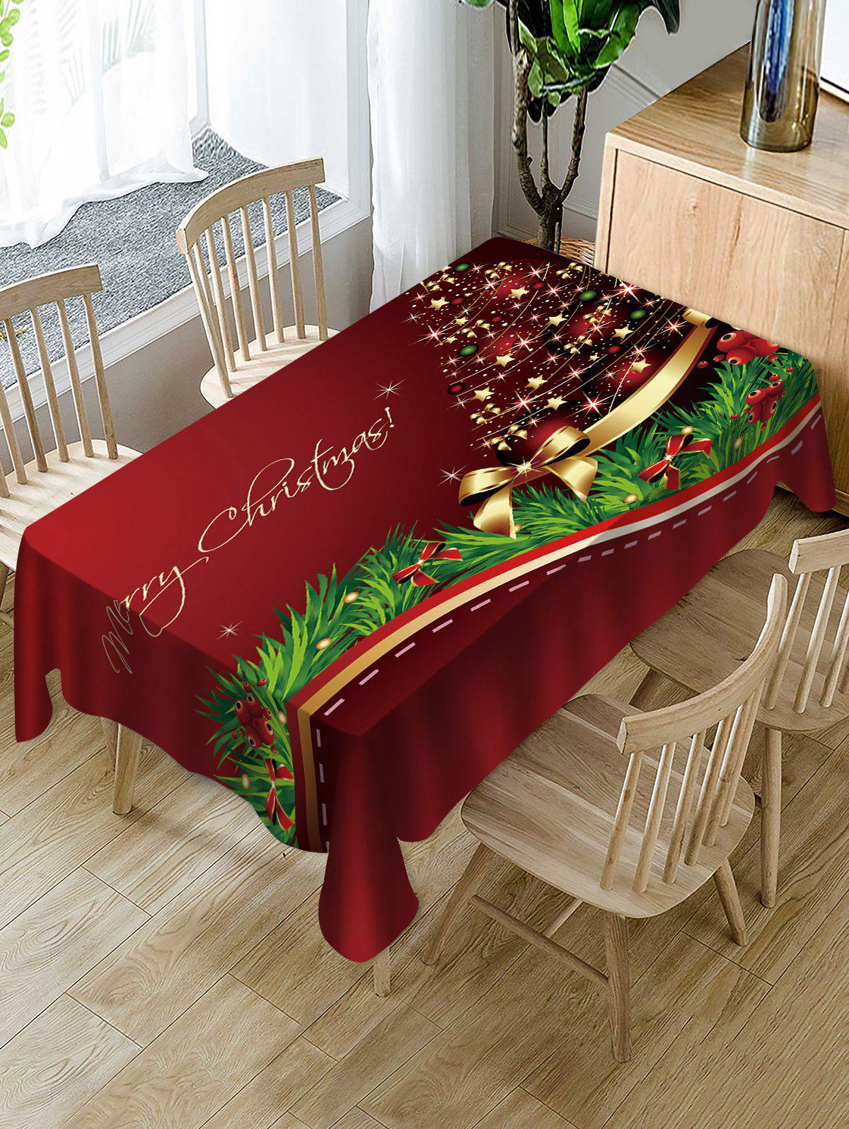 Nappe de Table Imperméable à Imprimé Sapin de Noël et Inscription Merry Christmas