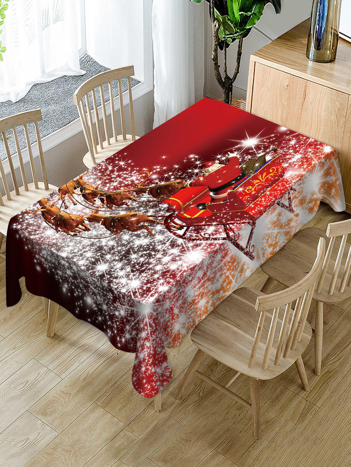 Trendy Christmas Sleigh Elk Print Fabric Waterproof Table Cloth