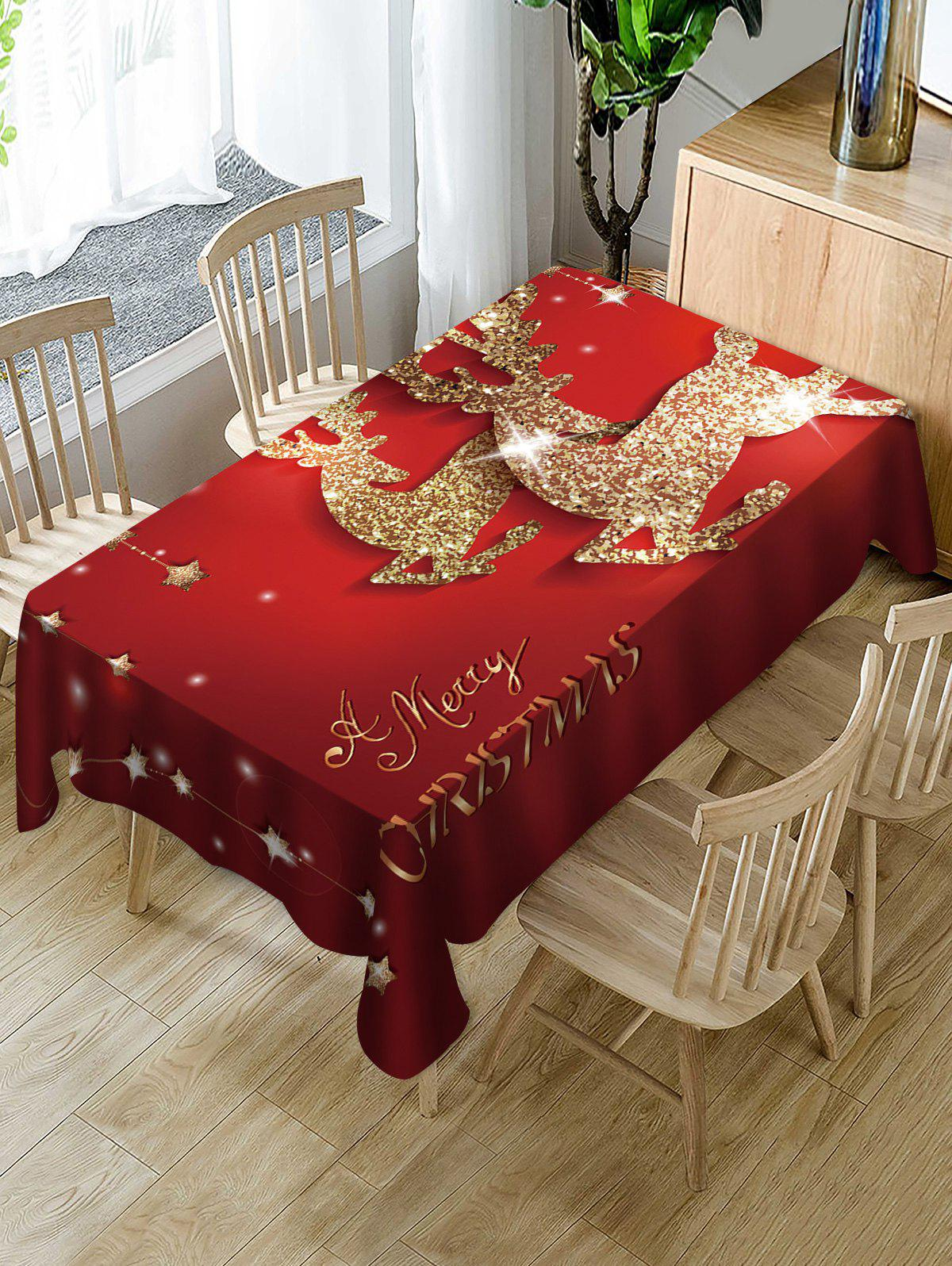 Trendy Merry Christmas Deer Print Fabric Waterproof Table Cloth