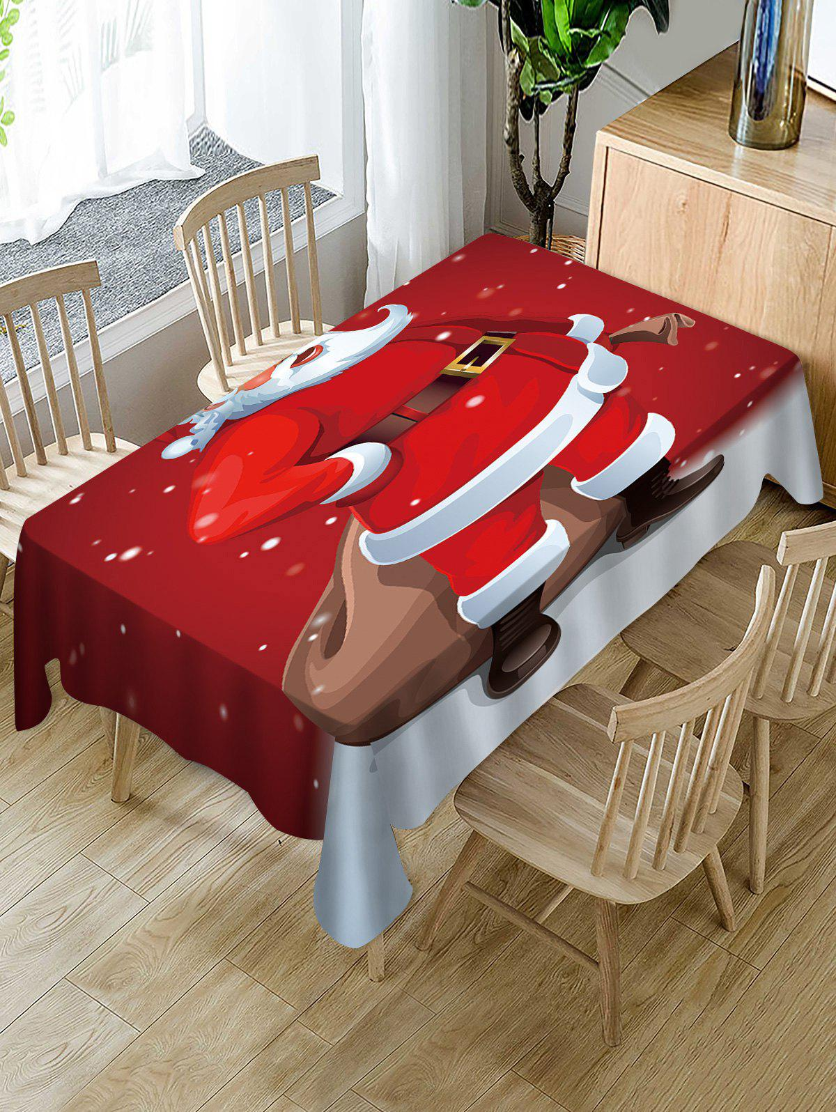 Best Father Christmas Print Fabric Waterproof Table Cloth