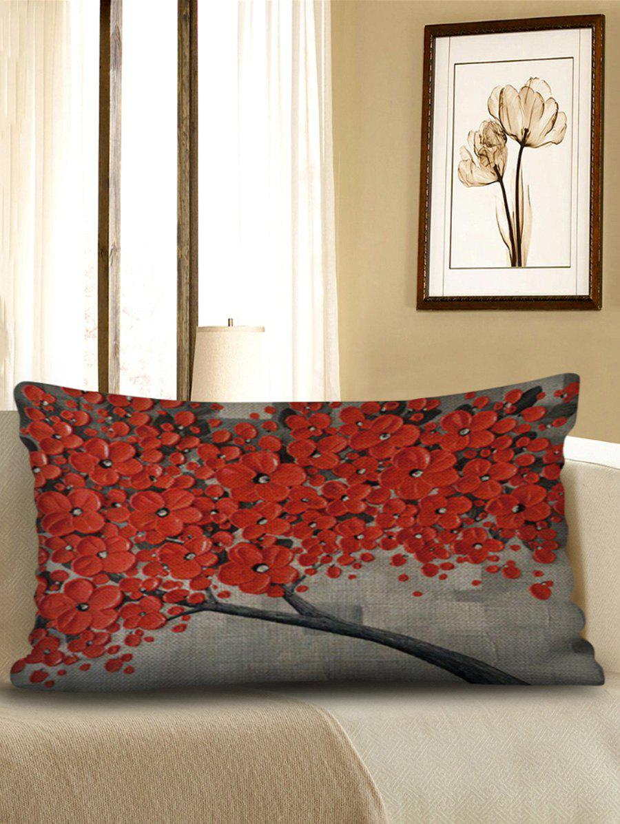 Unique Flowers Print Decorative Sofa Linen Waist Pillowcase