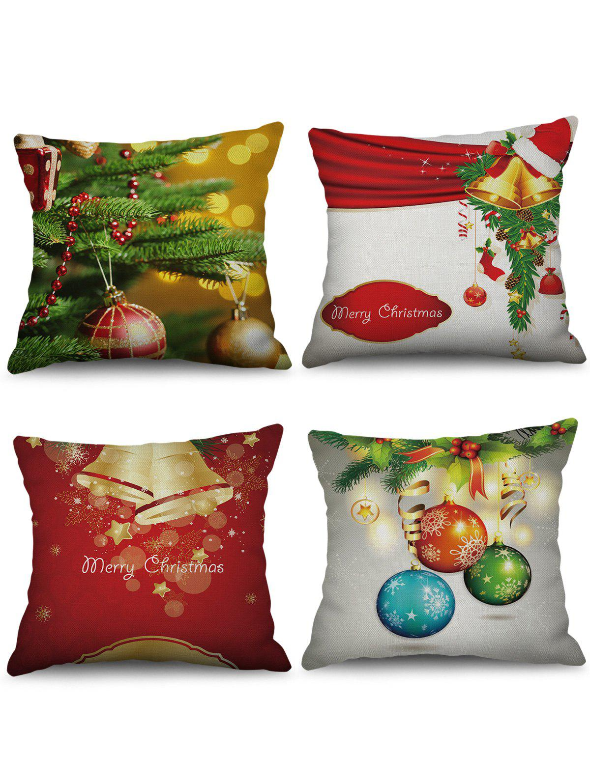 Store 4PCS Christmas Bell Ball Printed Pillowcases