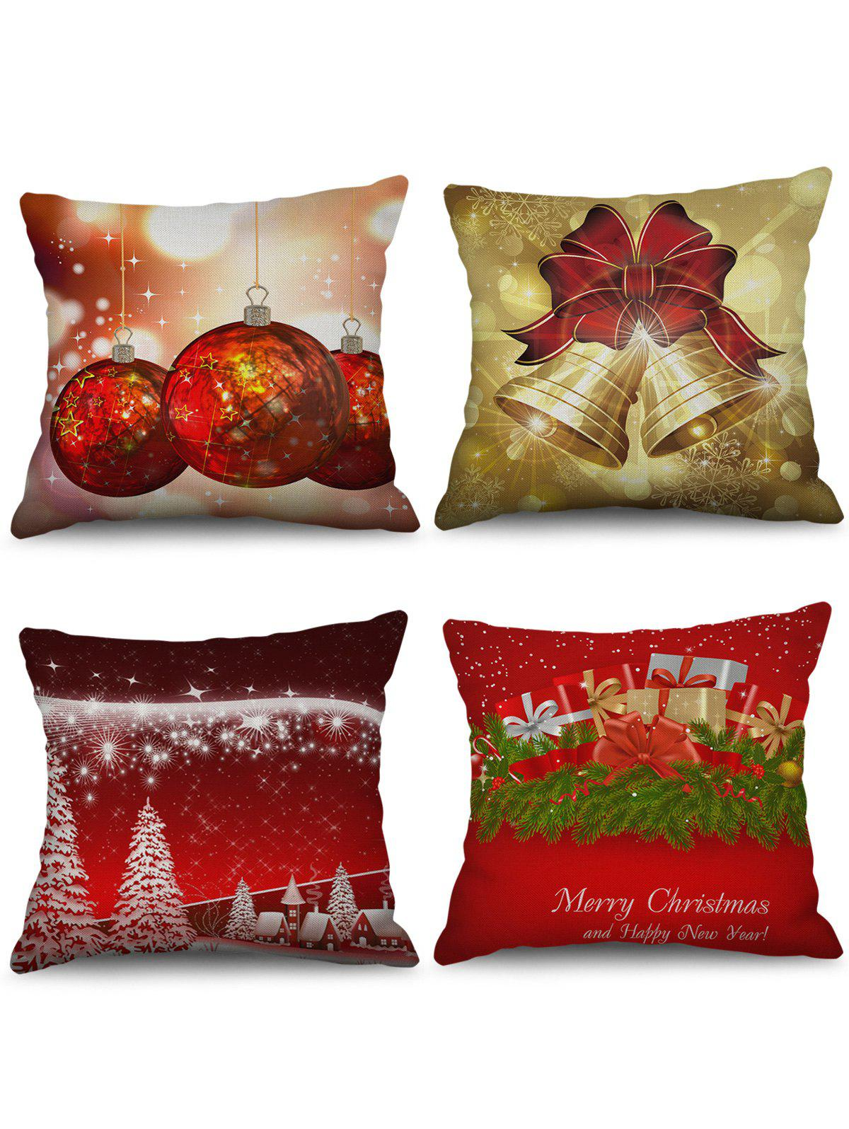 Fancy 4PCS Christmas Tree Bell Gift Printed Pillowcases