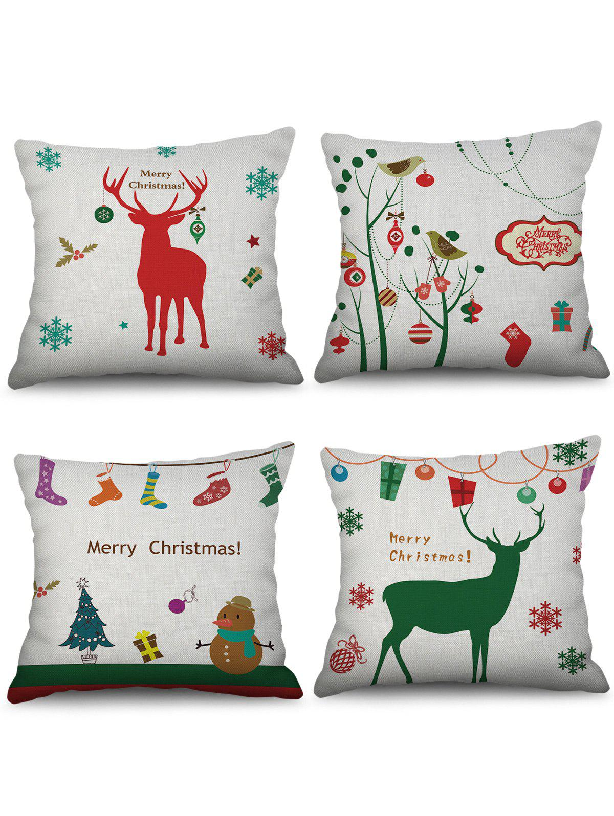 Buy 4PCS Christmas Snowman Elk Gift Printed Pillowcases