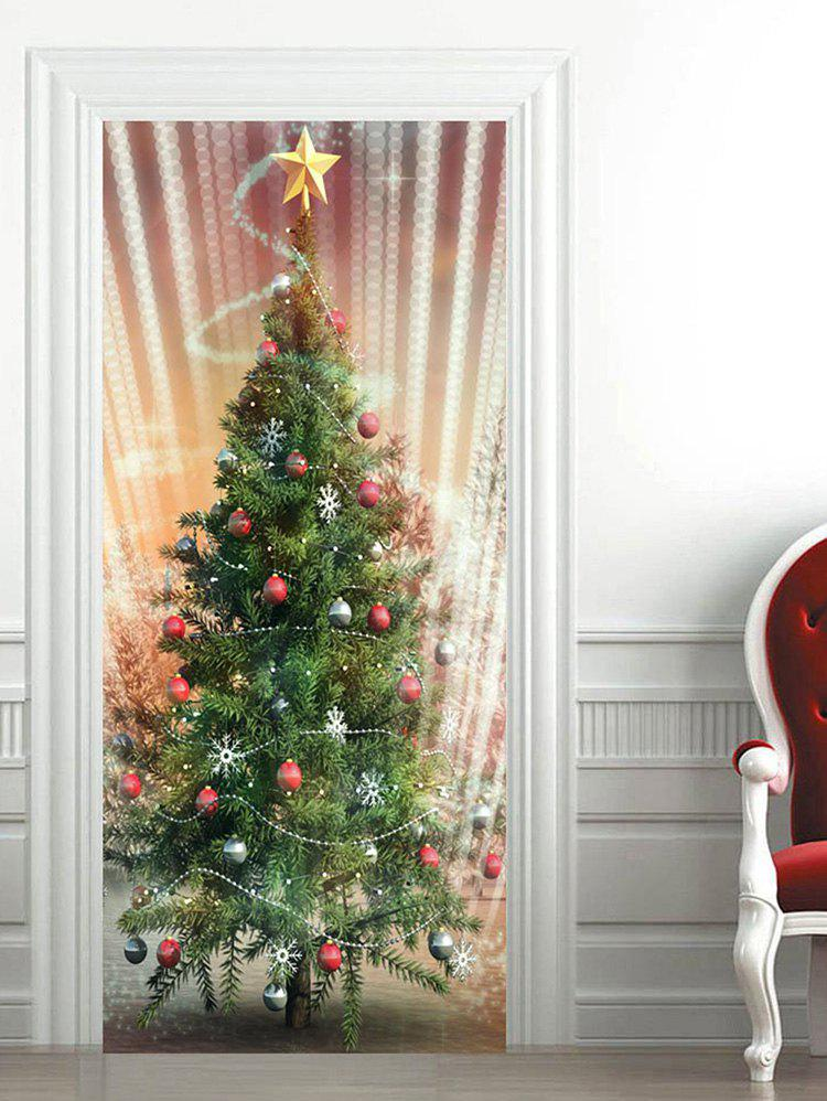 Chic Sparkly Christmas Tree Baubles Pattern Door Stickers
