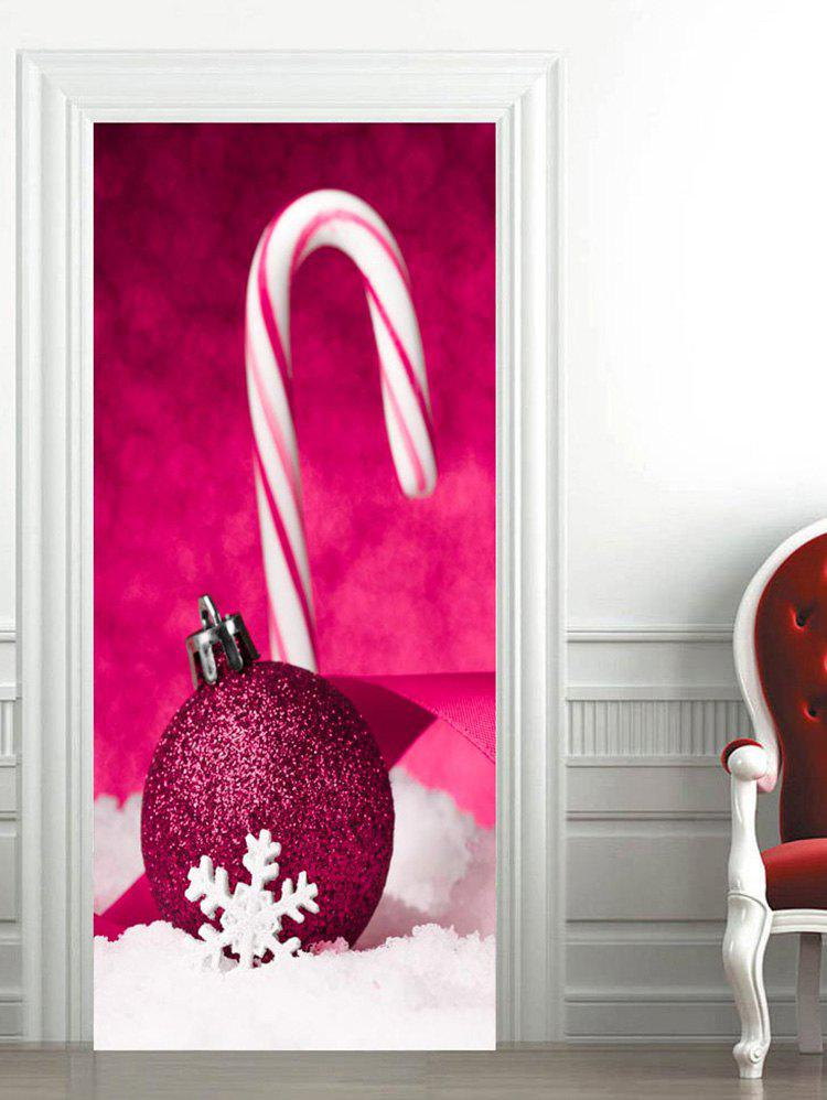 Hot Christmas Candy Stick Baubles Printed Door Stickers