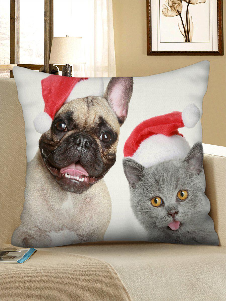 Chic Christmas Cat Dog Pattern Throw Pillow Case
