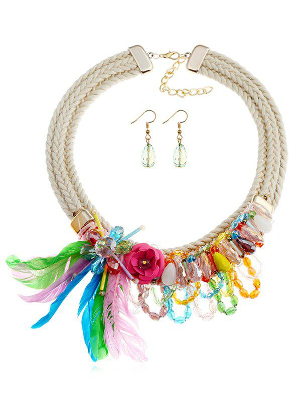 Trendy Rose Shape and Artificial Feather Pendant Jewelry Set