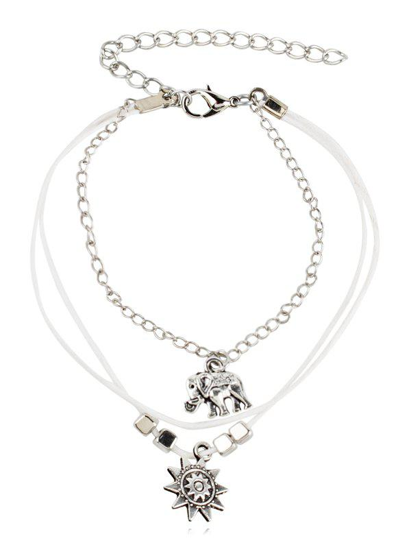 Affordable Layered Elephant and Floral Beaded Anklet Chain
