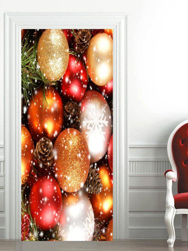 Fancy Christmas Colorful Baubles Printed Door Stickers