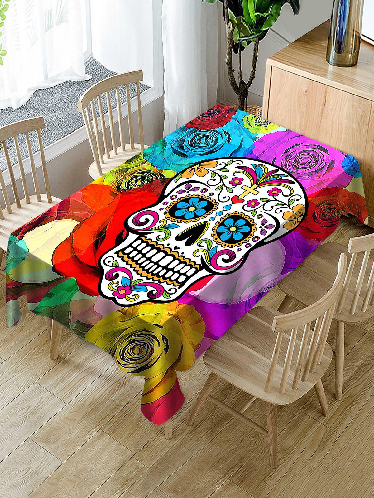Outfits Halloween Flower Skull Print Fabric Waterproof Tablecloth