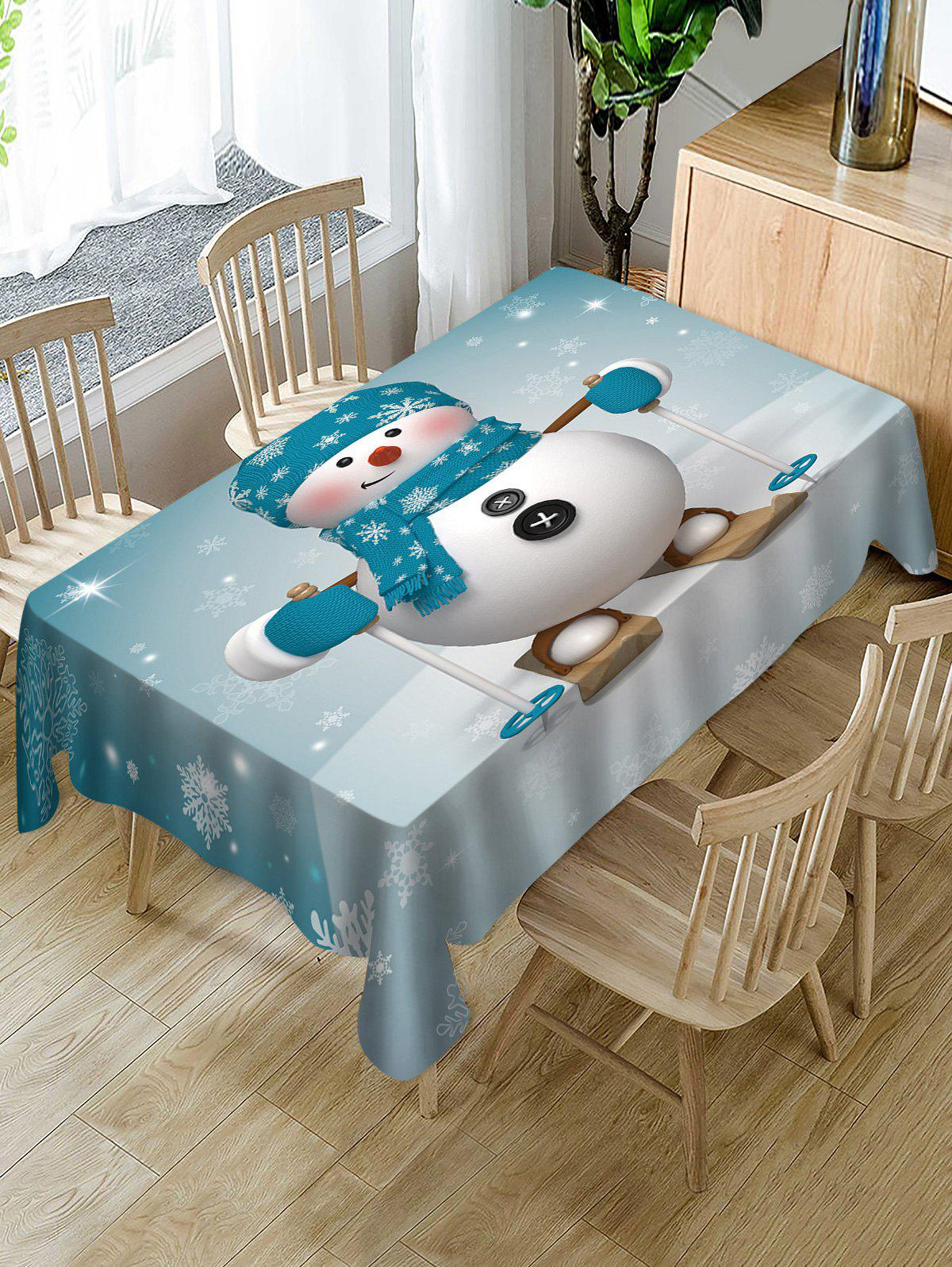 Shops Christmas Snowman Skiing Print Fabric Waterproof Table Cloth
