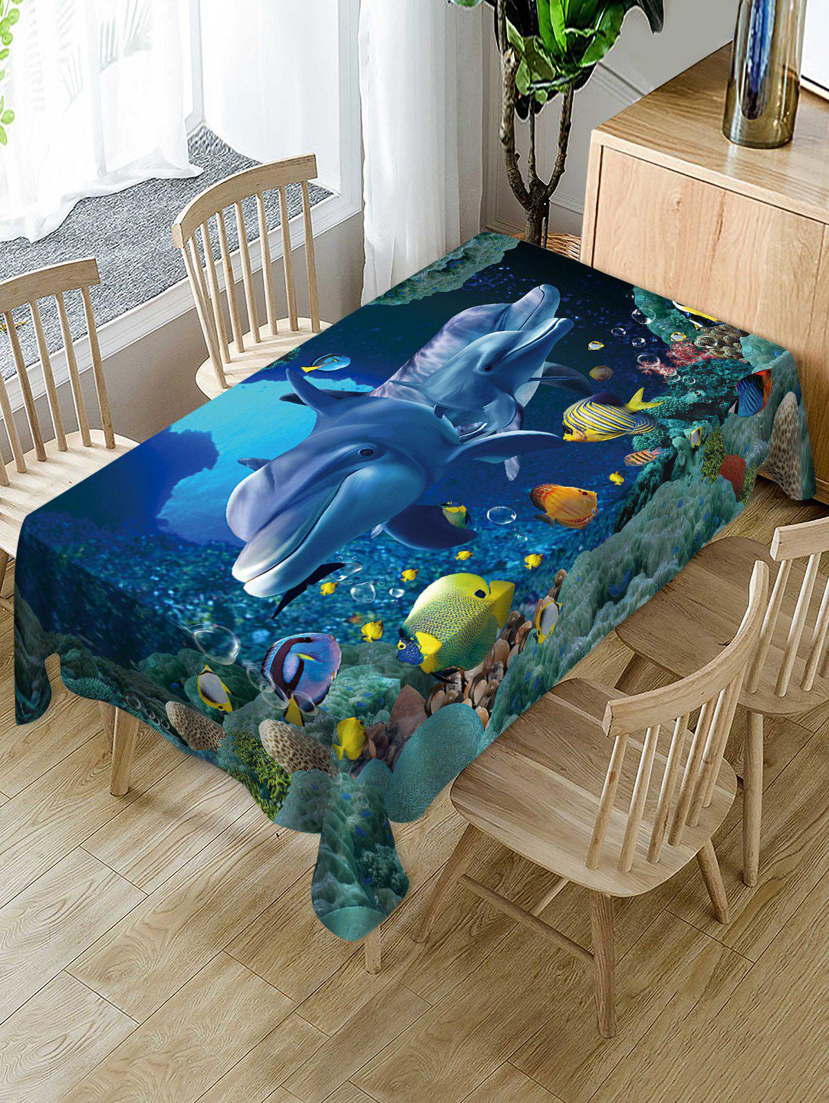 Affordable Sea World Whale Print Fabric Waterproof Table Cloth