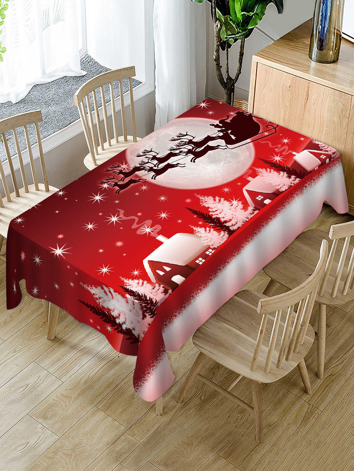 Fashion Christmas Night Deer Print Fabric Waterproof Table Cloth