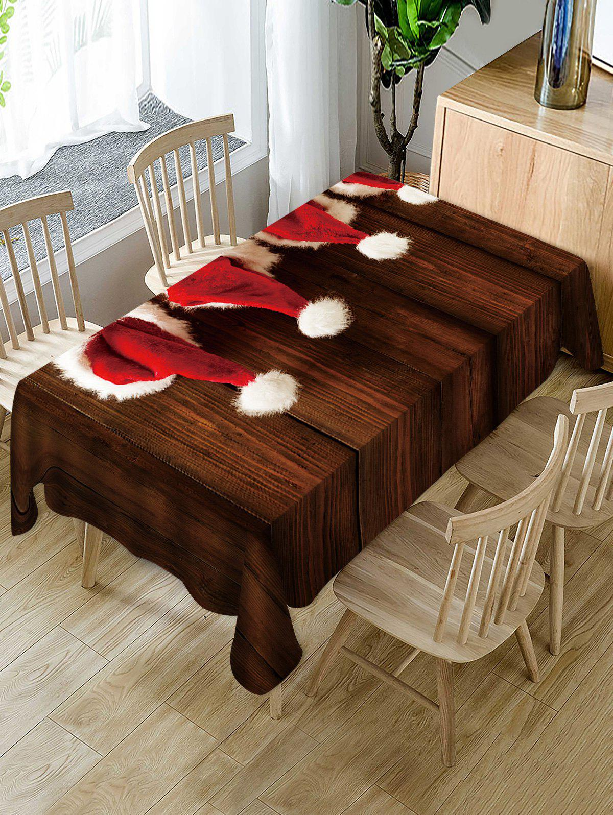 Hot Christmas Hat Wooden Print Fabric Waterproof Table Cloth