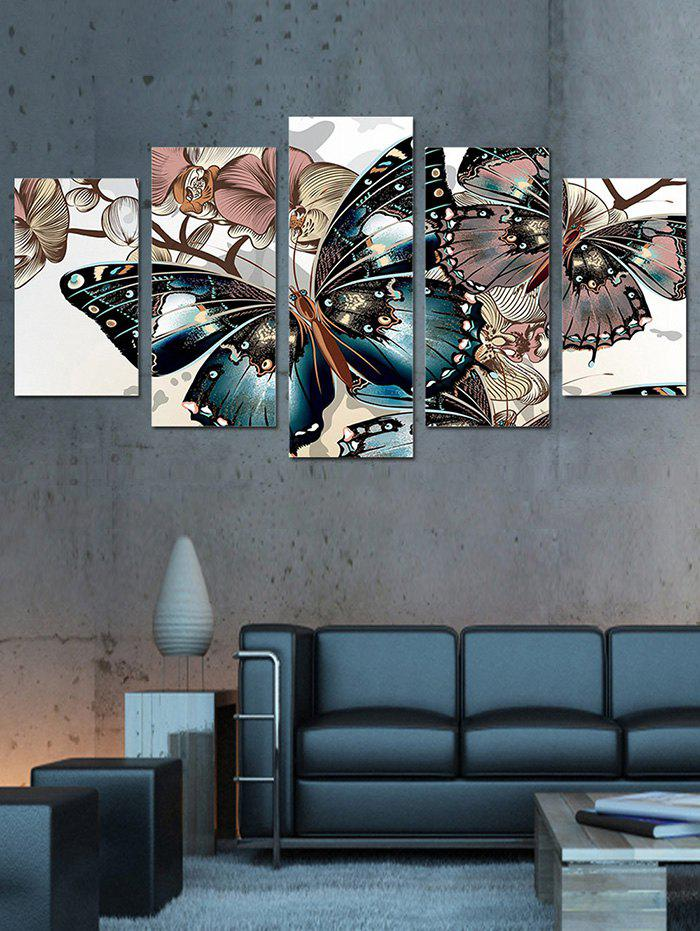 Best Butterfly and Flowers Print Unframed Split Canvas Paintings
