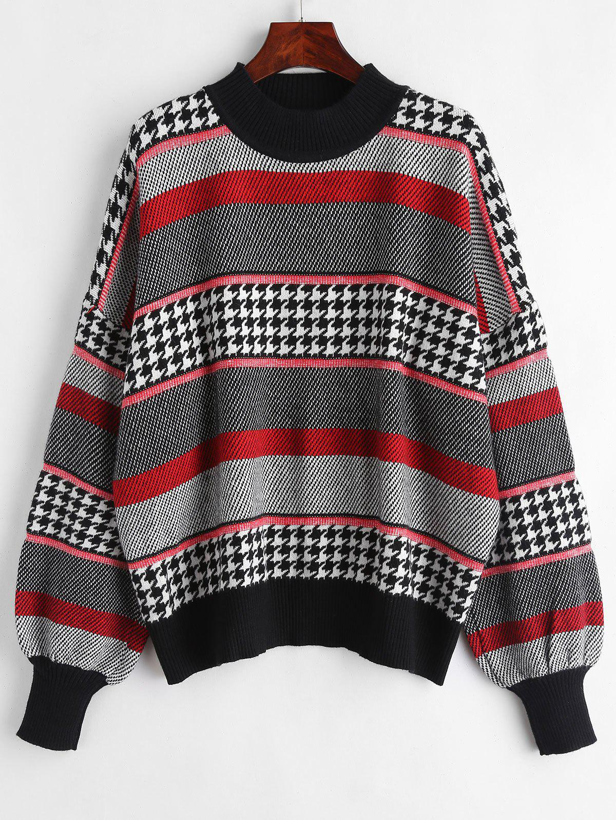 b93fdcf0bc05 Houndstooth Plus Size Graphic Sweater - One Size