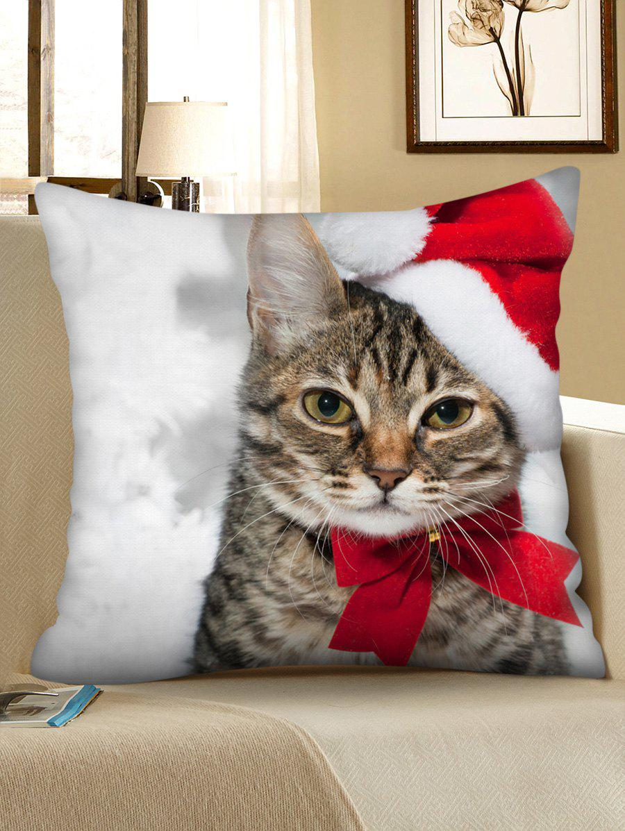 Outfits Christmas Cat Printed Decorative Throw Pillow Case