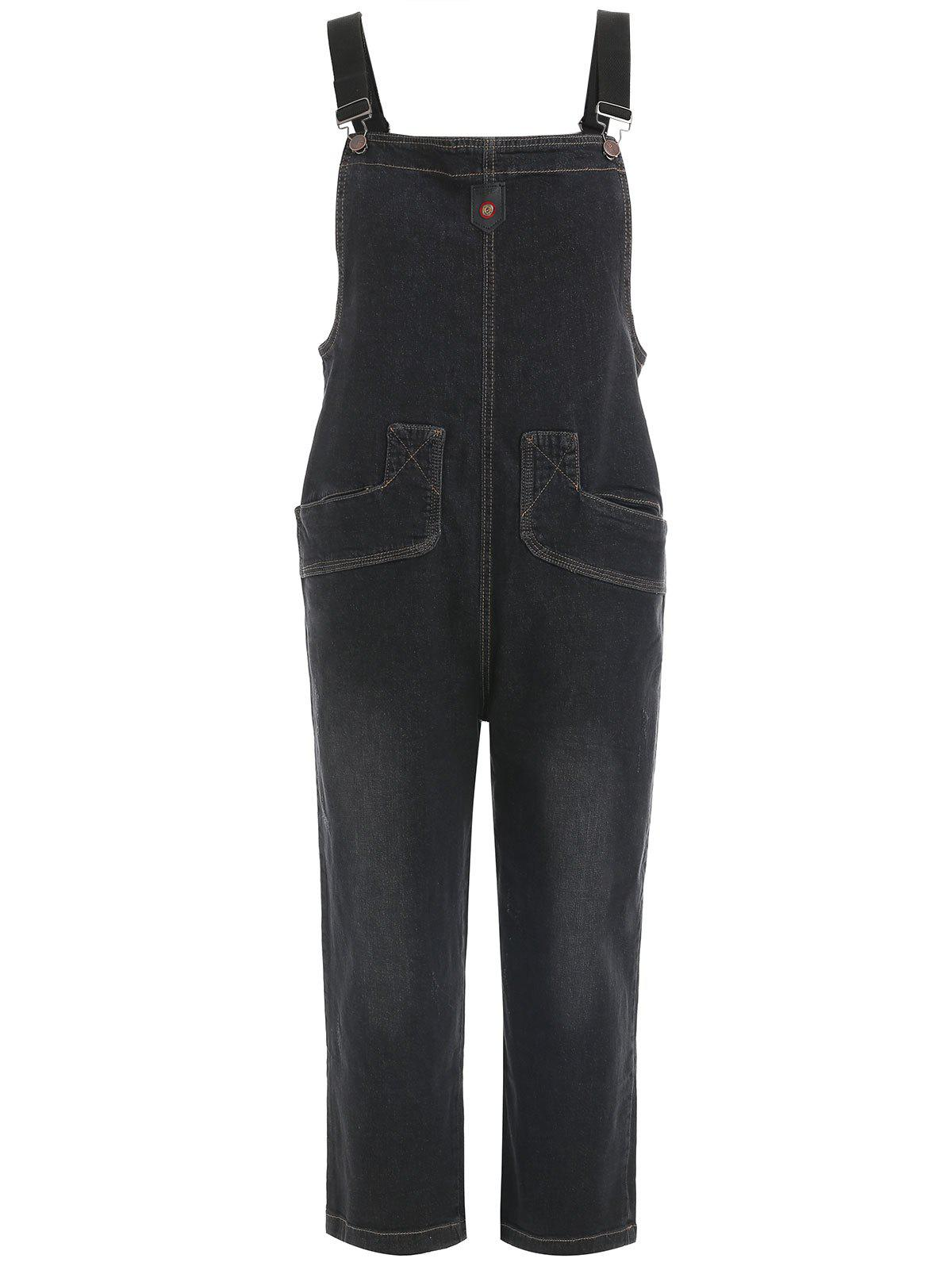 Fashion Wide Leg Jean Overalls with Pockets