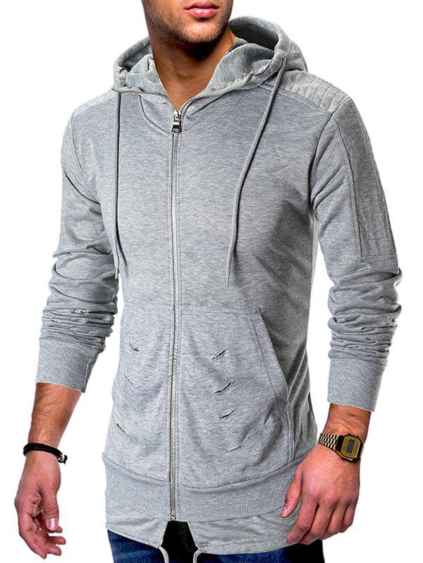 Online Zip Up Ripped Pleated Long Sleeve Hoodie