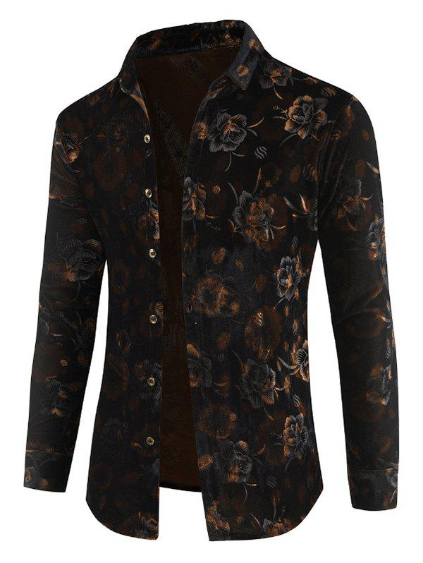 Fashion Velveteen Floral Button Up Shirt