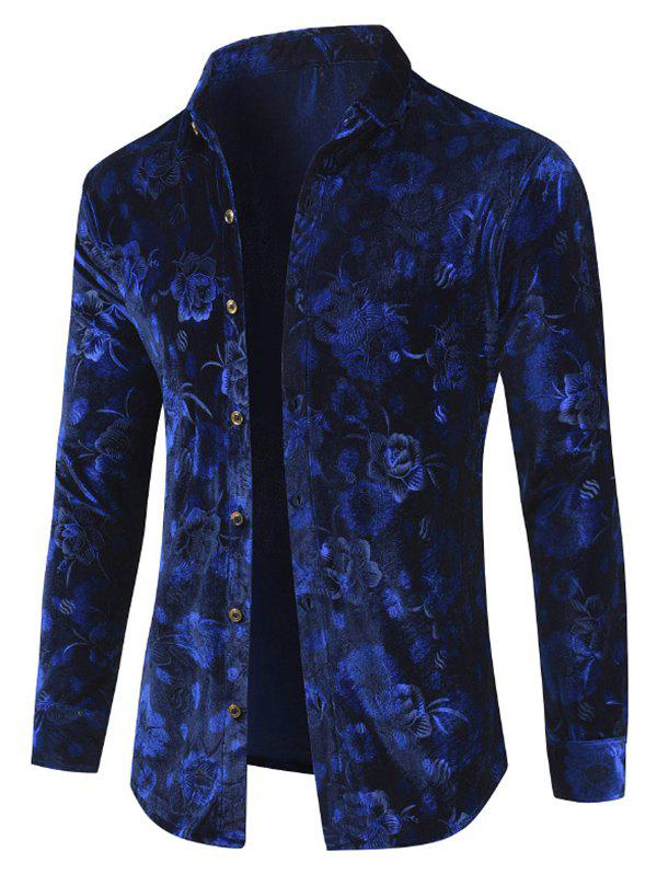 Affordable Velveteen Floral Button Up Shirt