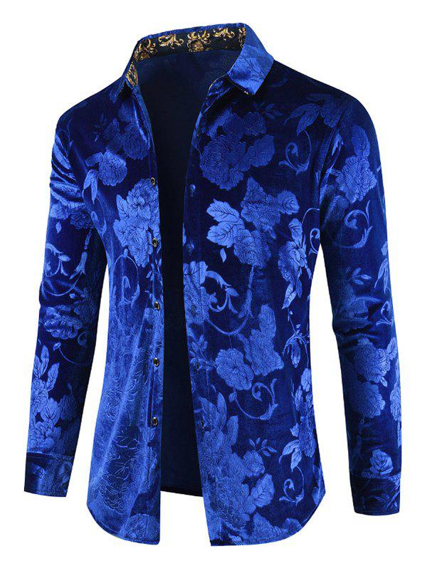 Shop Velveteen Floral Pattern Casual Shirt