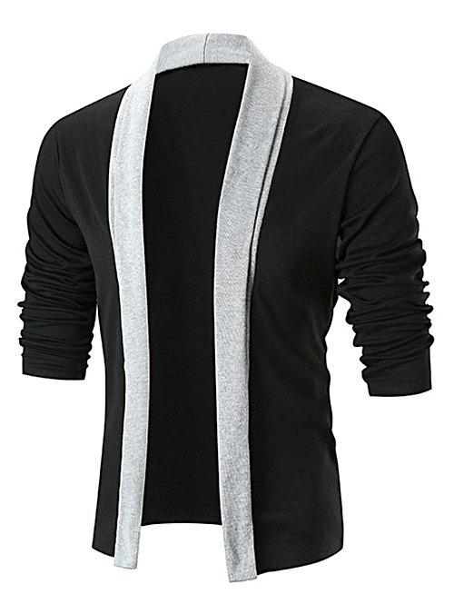 Cardigan Long Ouvert en Avant en Blocs de Couleurs